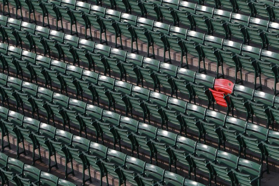 The seat where Ted Williams' 1946 home run fell is clearly marked by the red seat in the Fenway Park bleachers.