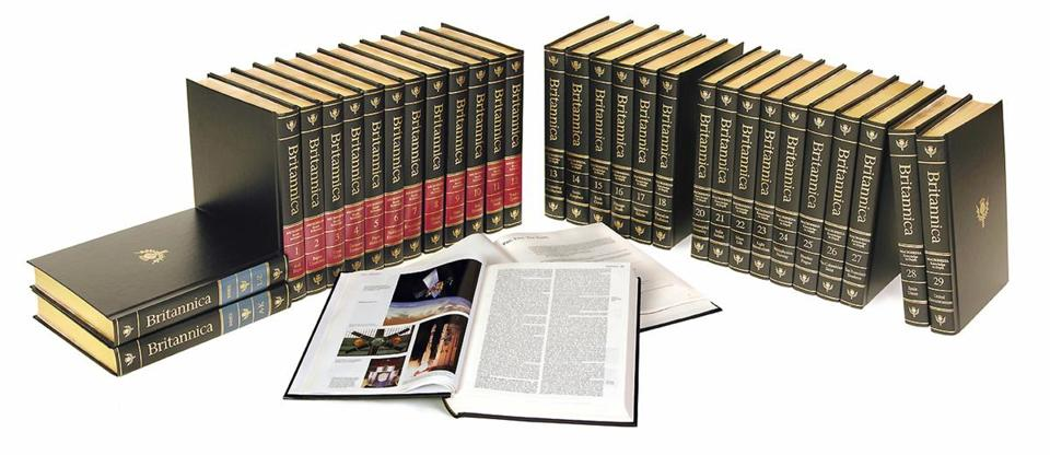 A 32-volume set of the Encyclopaedia Britannica.