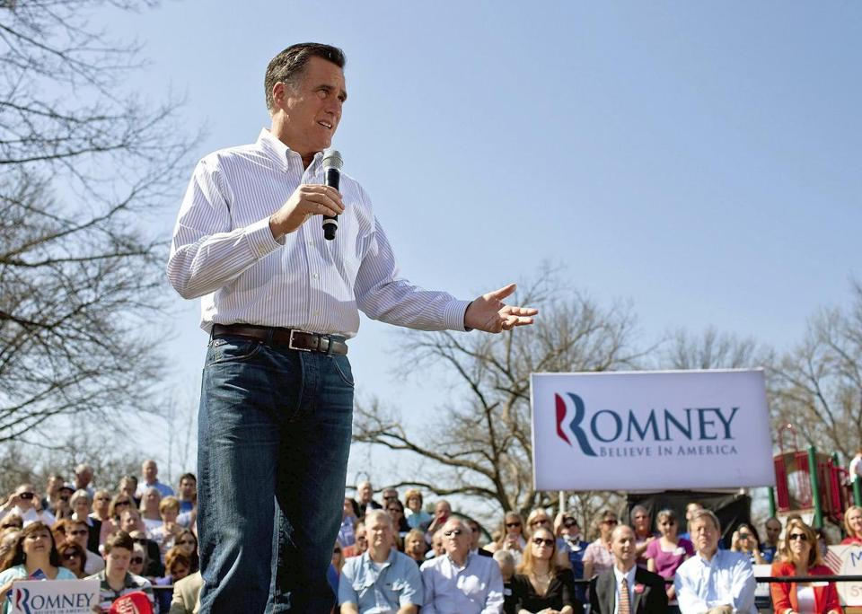 Republican presidential candidate, former Massachusetts Gov. Mitt Romney speaks to supporters during a March 13 campaign stop in Kirkwood, Mo.