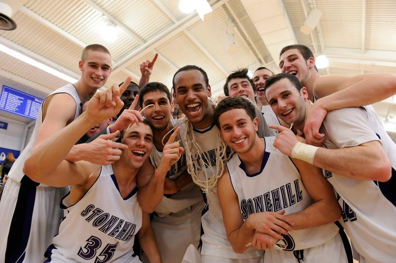 Stonehill players celebrated after their victory on Tuesday night.