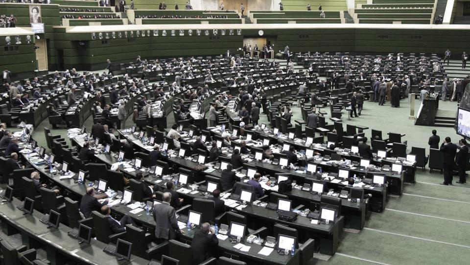 The Iranian parliament after President Mahmoud Ahmadinejad answered questions in an open session in Tehran Wednesday.