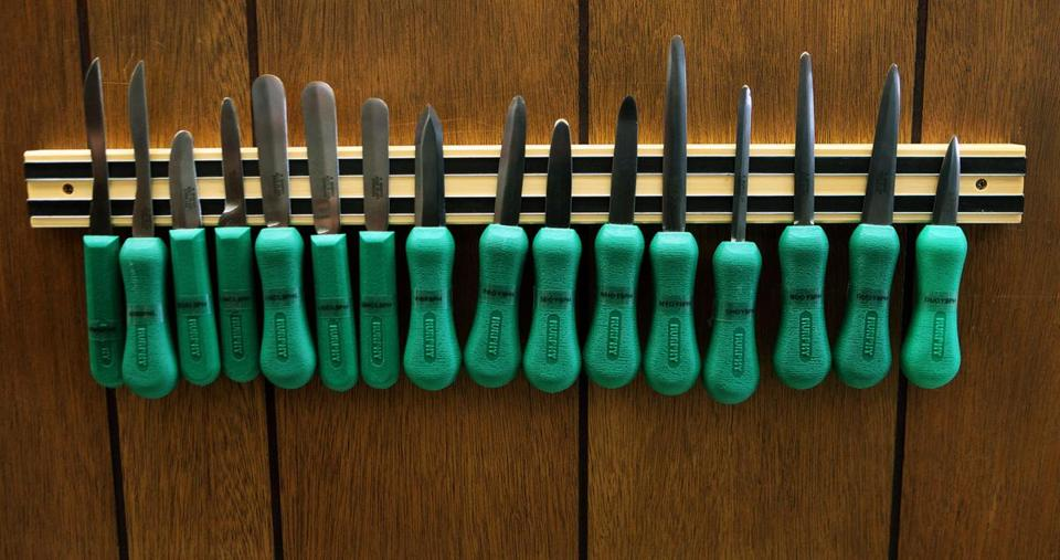 An array of oyster and other shellfish knives made at R. Murphy Knives, one of the state's few remaining knife manufacturers.