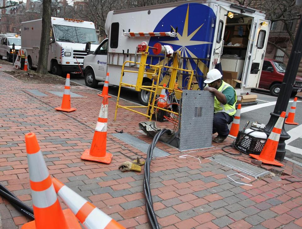 An NStar crewworked on Dartmouth Street to help restore power in the Back Bay.