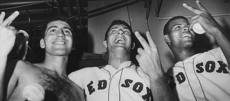 Rico Petrocelli, Carl Yastrzemski and Reggie Smith, left to right, who hit a World Series-record three home runs for the Red Sox in the fourth inning.