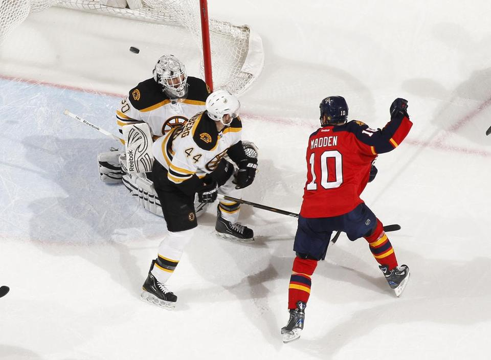 John Madden slipped one of the six goals past Tim Thomas Thursday.