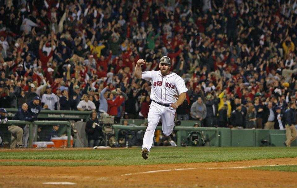 Kevin Youkilis scored the walk-off run for the Red Sox in the ninth inning.