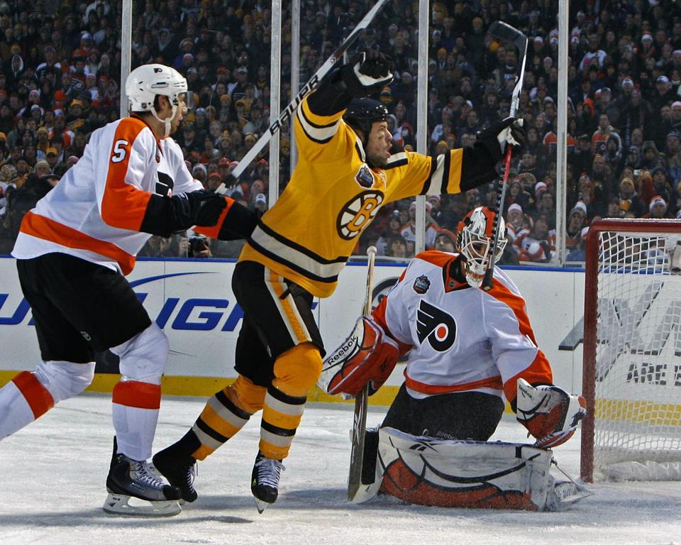 Marco Sturm scored the game-winning goal in overtime to clinch a Winter Classic victory for the Bruins at Fenway Park.