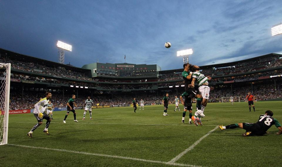 Fenway Park's playing surface was converted into a soccer pitch for Sporting Lisbon and Celtic FC.