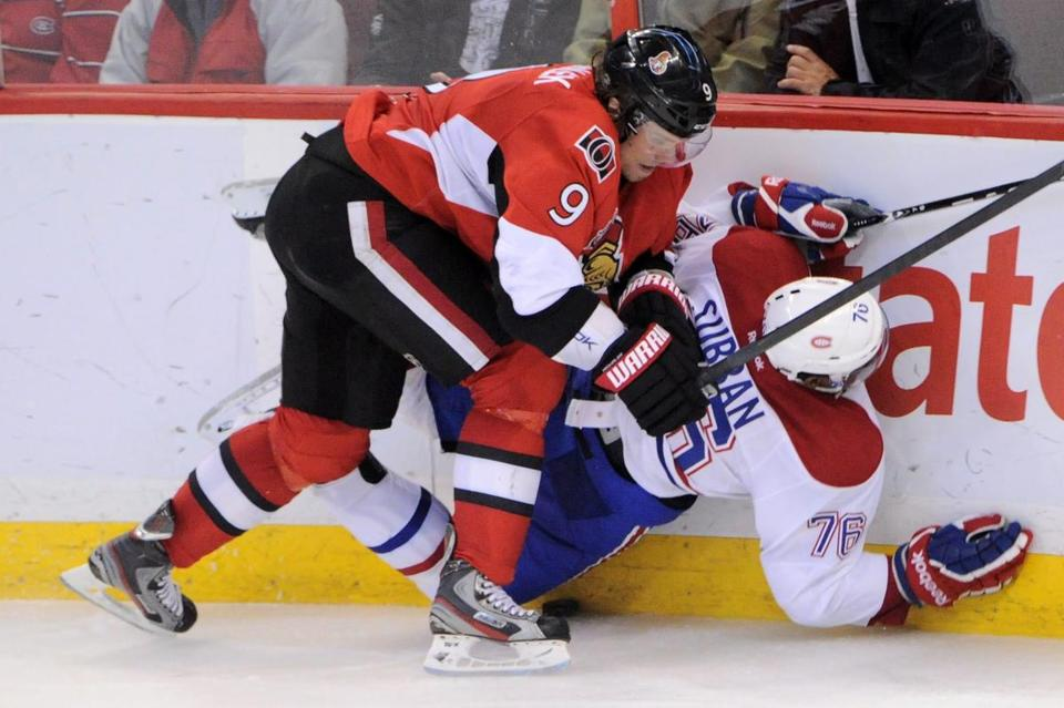 Ottawa Senators' Milan Michalek slammed Montreal Canadiens' P.K. Subban into the boards during Friday's game.