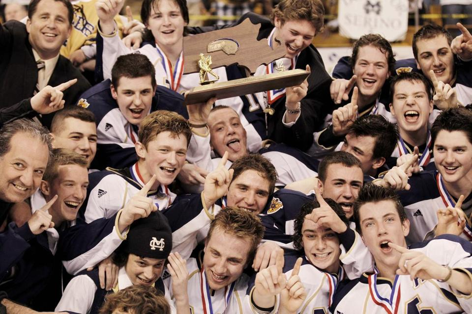 Malden Catholic players celebrated after winning their second straight Super 8 title.