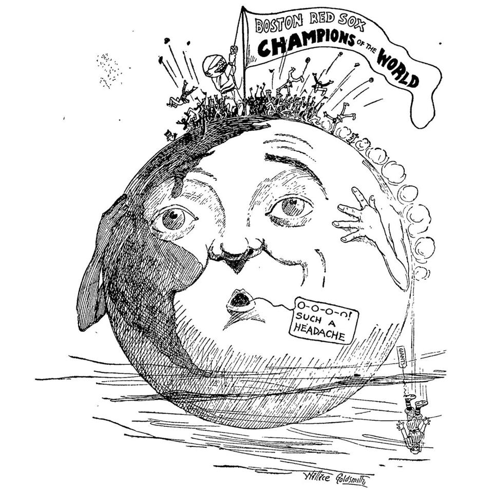 This cartoon appeared on page one of the Boston Globe on Oct. 17, 1912, after the Red Sox won the World Series.