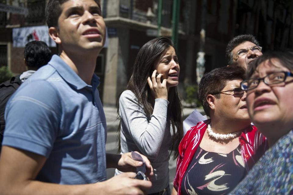 People ran to safety on the streets of Mexico City after a strong earthquake shook the city.