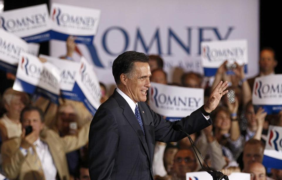 Mitt Romney appeared at a rally in Schaumburg, Ill., after winning that state's Republican primary.