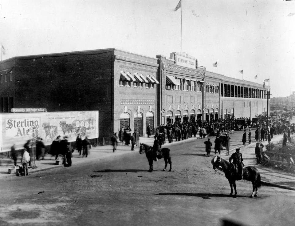 The scene outside Fenway Park on April 20, 1912.