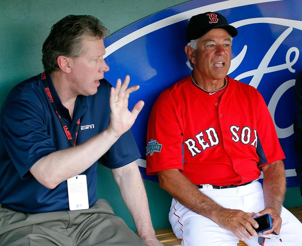 Bobby Valentine chatted with ESPN analyst Orel Hershiser before Thursday's game.