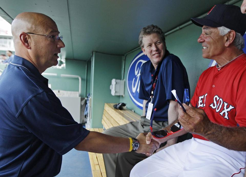 Former Red Sox manager Terry Francona, left, spent a moment with his successor, Bobby Valentine on Thursday.