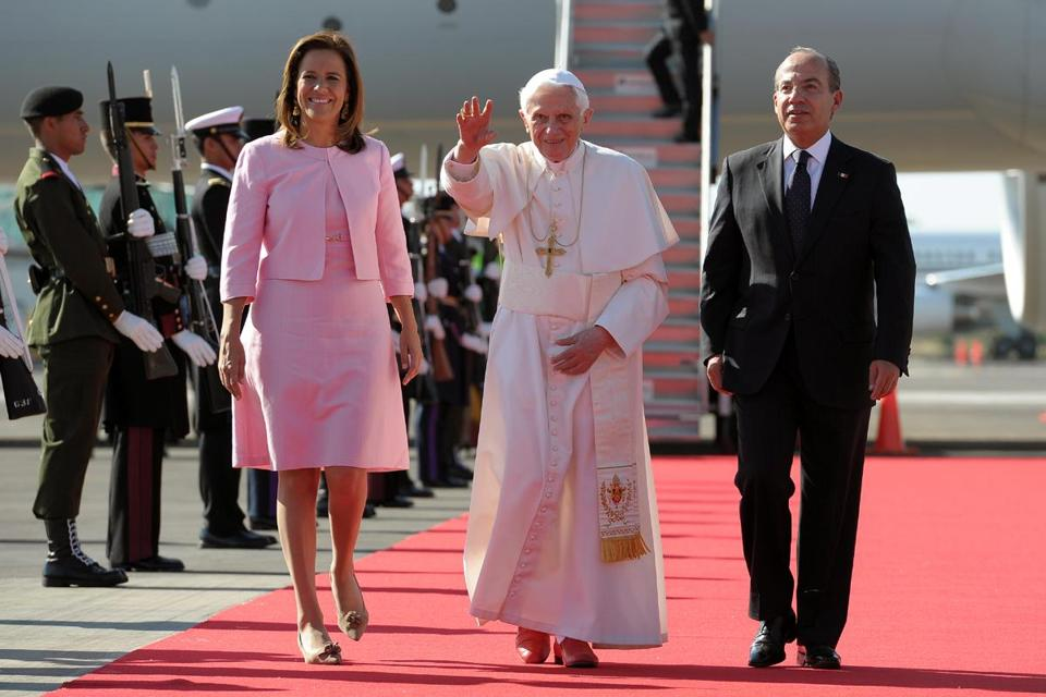 Pope Benedict XVI was welcomed by Mexican President Felipe Calderon (right) and his wife, Margarita Zavala, upon his arrival at Silao's international airport on Saturday.