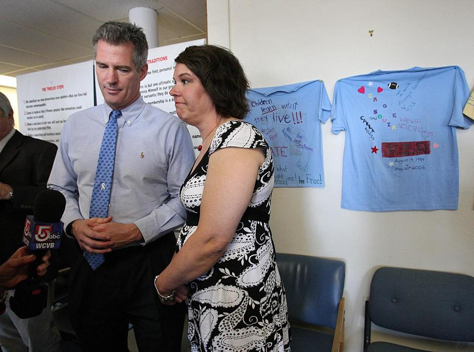 US Senator Scott Brown and his sister Lee Ann Riley on Friday discussed growing up in an abusive environment.