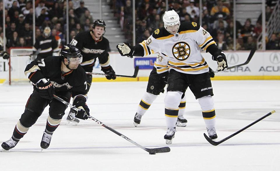 Bruins right wing Rich Peverley made his return on a line with Brad Marchand and Patrice Bergeron.
