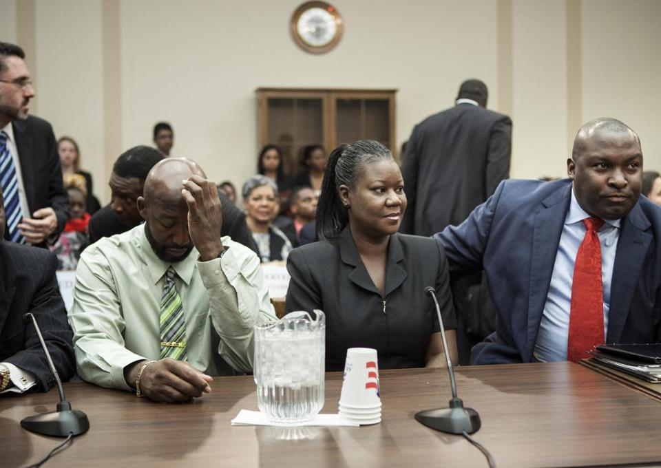 Tracy Martin (left) and Sybrina Fulton (center), parents of Trayvon Martin, spoke at a forum of Democratic members of the House Judiciary Committee Tuesday in Washington, DC.