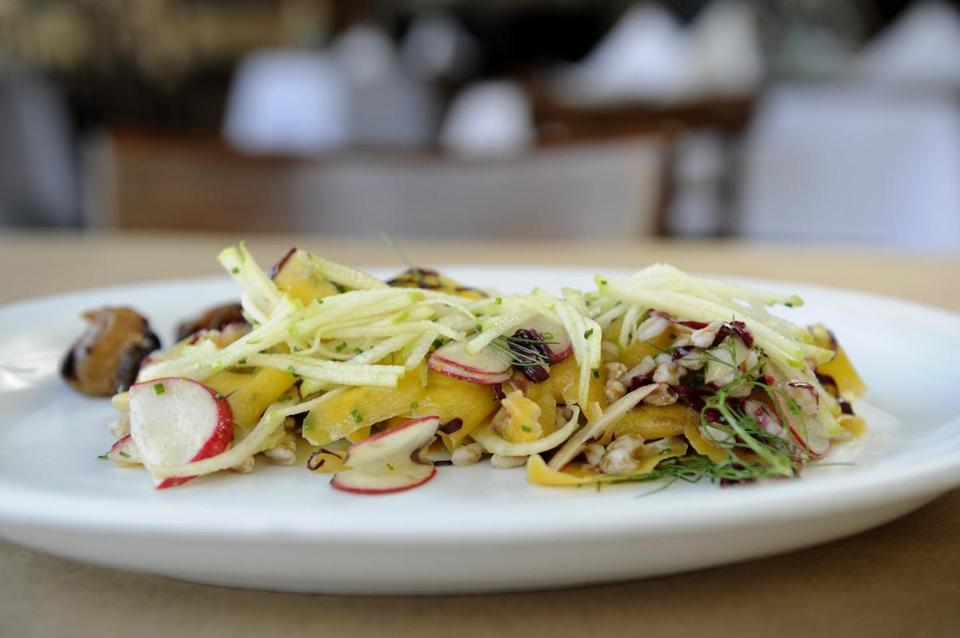 A Cook & Brown seasonal salad with acorn squash, fennel, farro, apple, roasted cippolini, and walnuts.