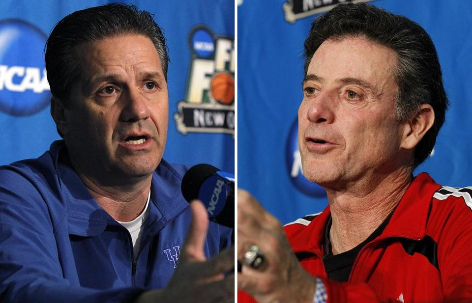 Kentucky's John Calipari, left, and Louisville's Rick Pitino will face off in the Final Four.