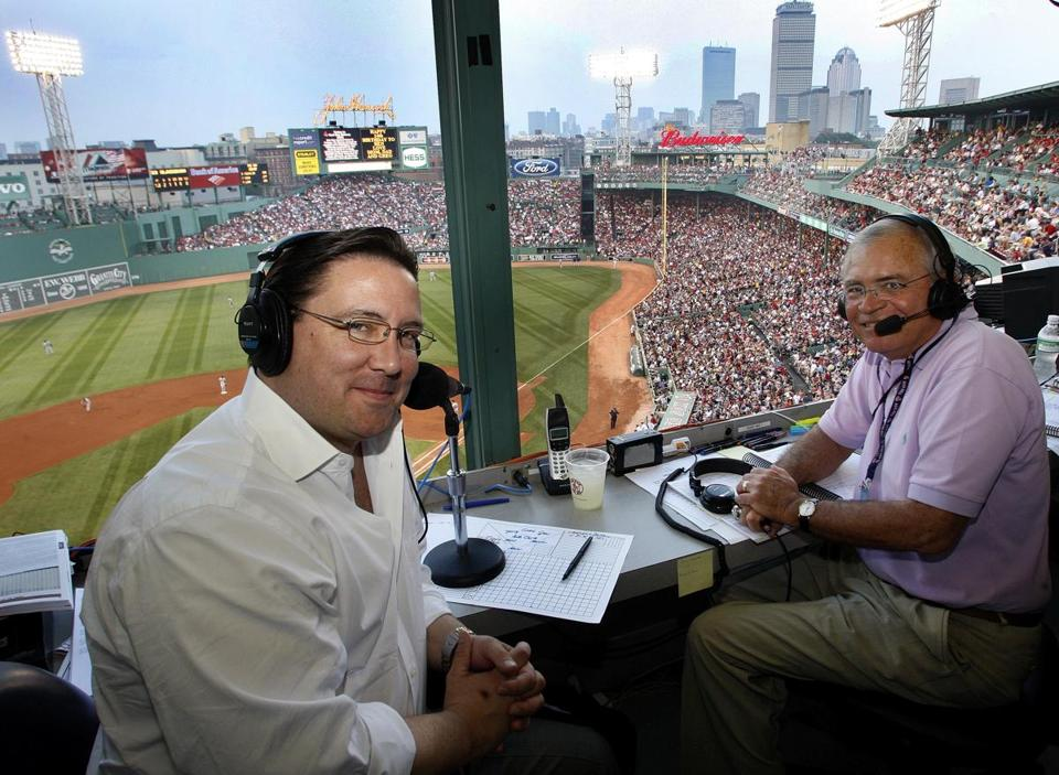 Joe Castiglione, right, with broadcast partner Dave O'Brien, has called Red Sox games since 1983.