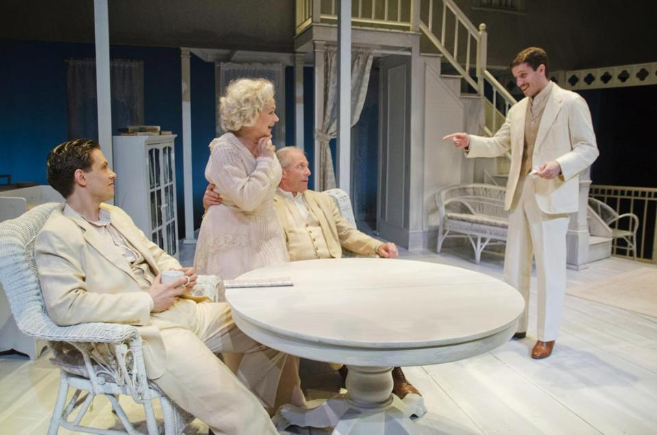 "Lewis D. Wheeler, Karen MacDonald, Will Lyman, and Nicholas Dillenburg in New Repertory Theatre's production of Eugene O'Neill's ""Long Day's Journey Into Night."""