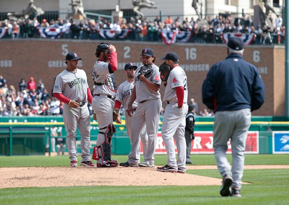 Bobby Valentine used four relievers en route to a loss in Detroit on Opening Day.