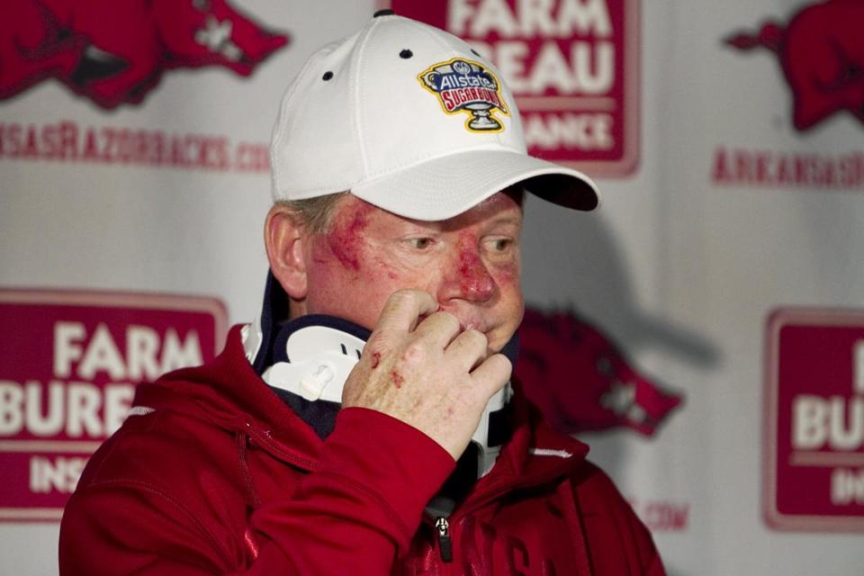 Bobby Petrino on Tuesday after his motorcycle crash. Arkansas placed him on leave on Thursday.