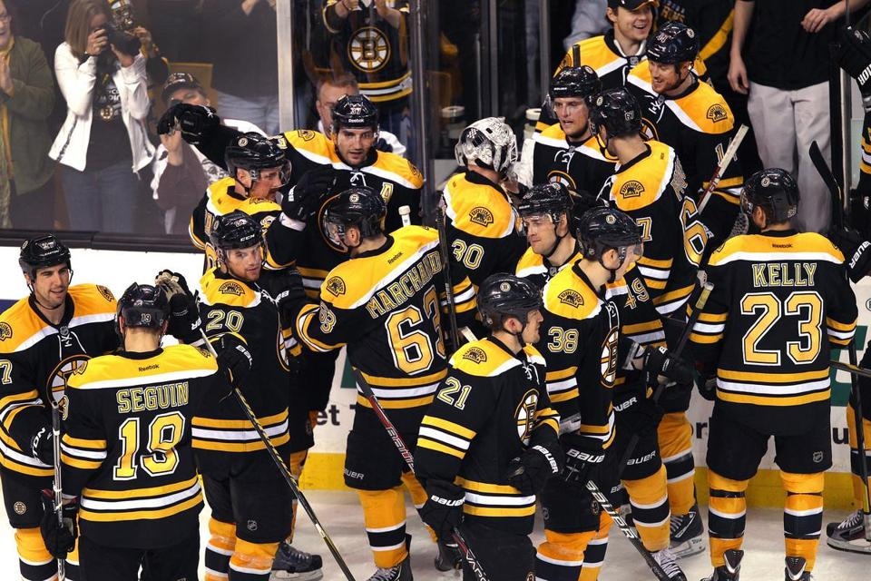 Their No. 2 seed in the playoffs clinched days earlier, the Bruins lollygagged their way out of the TD Garden Saturday night, in no rush to leave after their 4-3 shootout win over the Sabres.