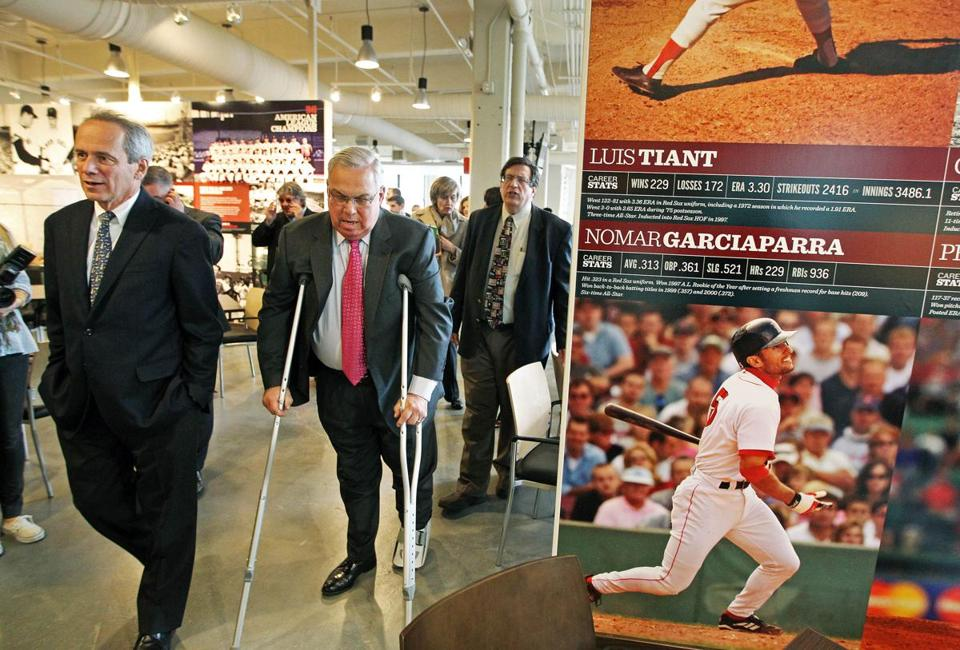 Boston Mayor Thomas Menino visited Fenway Park in April 2012 wearing a walking boot and using crutches.
