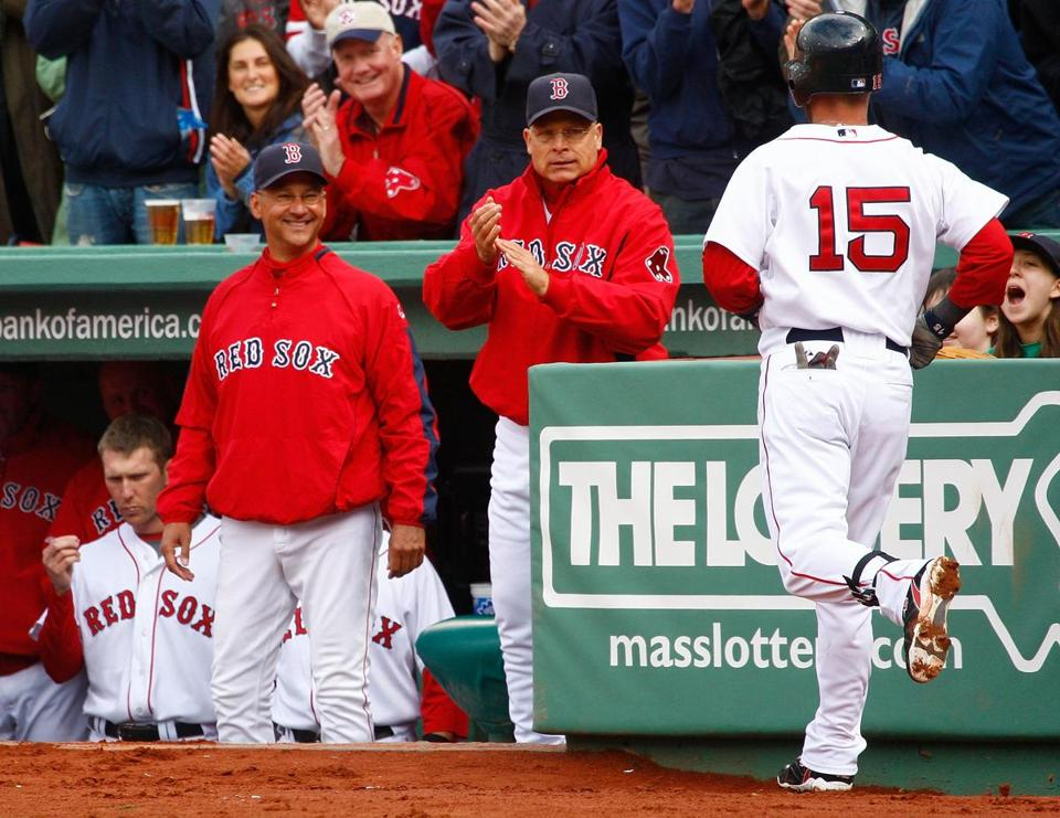 Manager Terry Francona, left, and bench coach Brad Mills welcomed Dustin Pedroia back to the dugout after his home run.