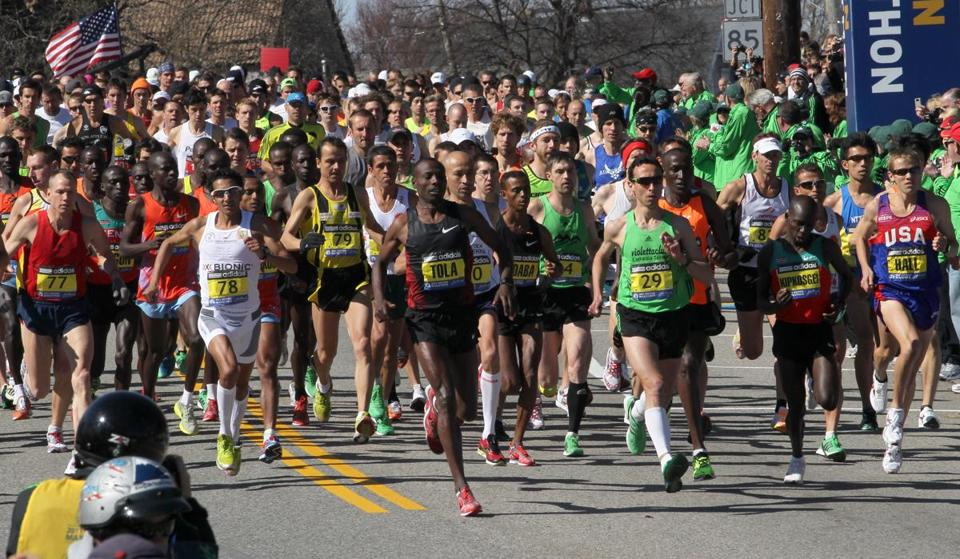 The elite runners will embark on their Boston Marathon treks from Hopkinton on Monday.