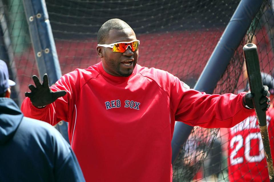 David Ortiz talked with Tampa Bay Rays players on Opening Day.