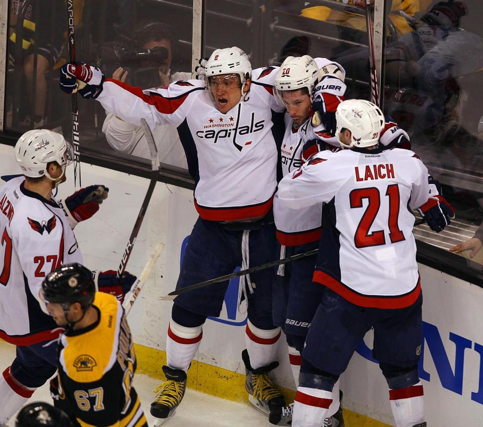 The Washington Capitals evened their first-round playoff series with the Bruins on Saturday.