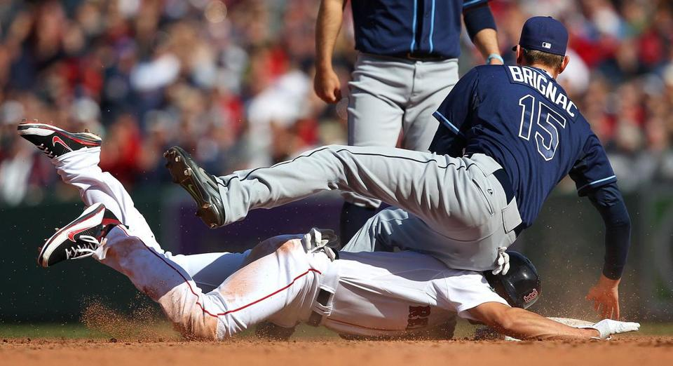 Jacoby Ellsbury collided with Reid Brignac at second base in the Sox home opener on Friday.