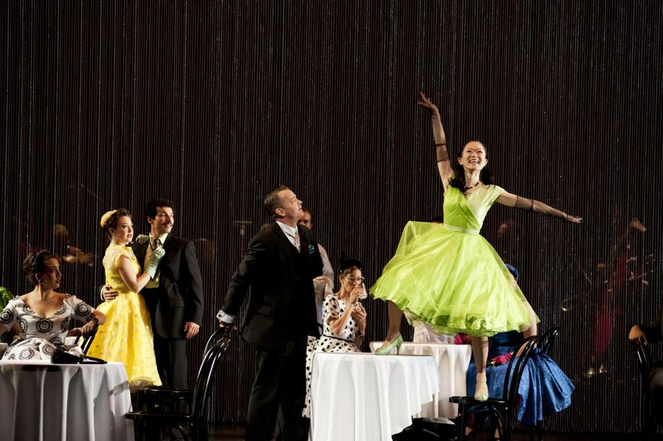 "Hannah Tehrani, Melody Madarasz, Gian-Murray Gianino, Barney O'Hanlon, Ellen Lauren, and Akiko Aizawa in ""Café Variations'' at the Cutler Majestic Theatre."