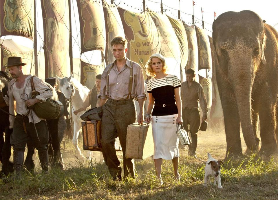 "Robert Pattinson and Reese Witherspoon star in ""Water for Elephants."""