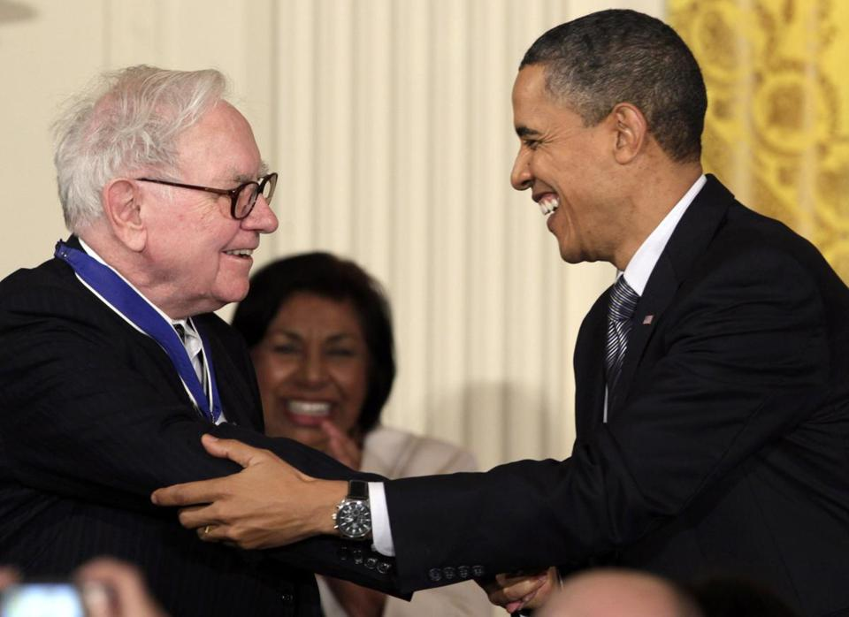 President Barack Obama congratulated Warren Buffett after presenting him with a 2010 Presidential Medal of Freedom in this Feb. 15, 2010, file photo.
