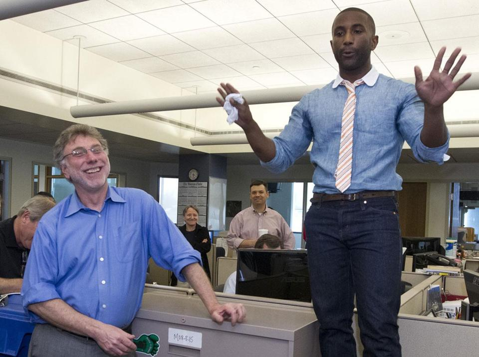 Wesley Morris addressed colleagues as editor Martin Baron looked on.