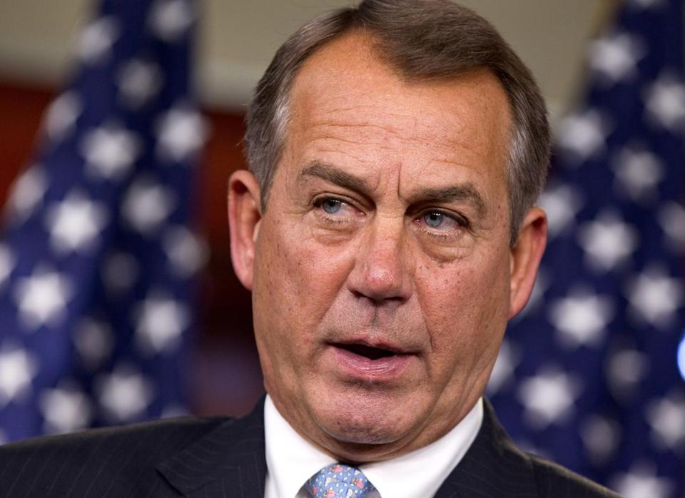 House Speaker John Boehner spoke during a news conference in this March 29, 2012, file photo.