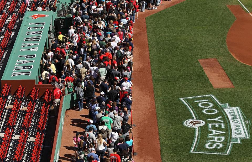 Thousands turned out to tour Fenway Park during an open house on Thursday.
