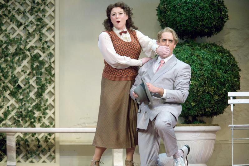 "Meredith Hansen and Neal Ferreira (above), and Jake Gardner (below, standing), pictured in rehearsal for Boston Lyric Opera's ""The Inspector.''"