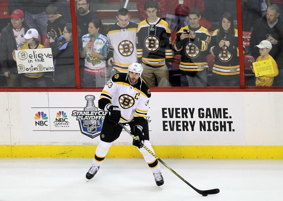 Bruins defenseman Zdeno Chara was on the ice before today's playoff game against the Washington Capitals. The Bruins face elimination with a loss.