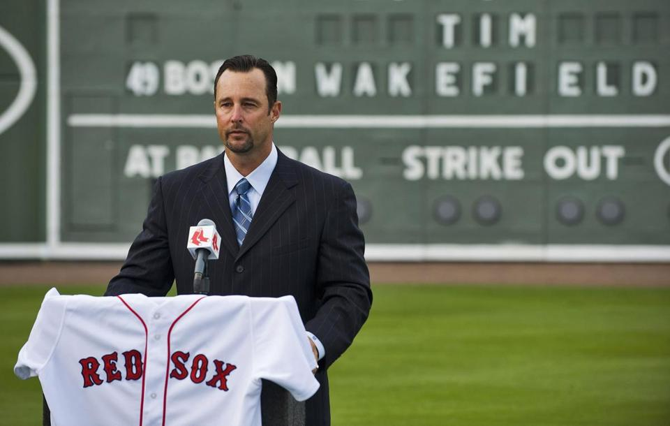 Tim Wakefield left the Red Sox as the Red Sox' leader in starts and innings and with two World Series rings.