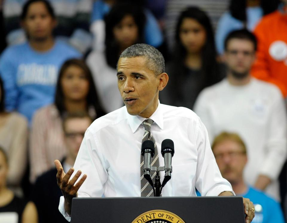 President Obama spoke during an appearance at the University of North Carolina Tuesday.