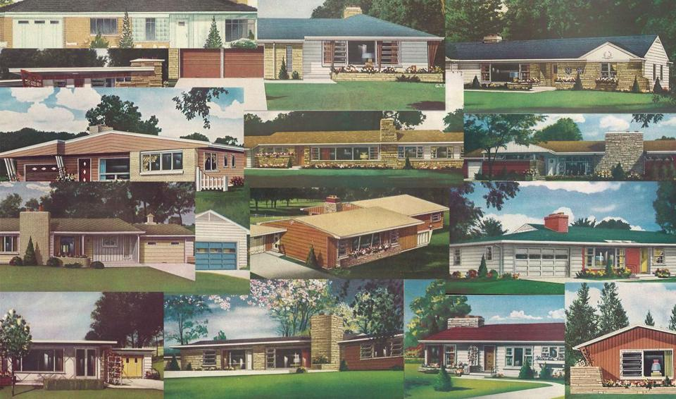 These drawings, from a vintage building plan book, show the suburban ranch in all its glory.