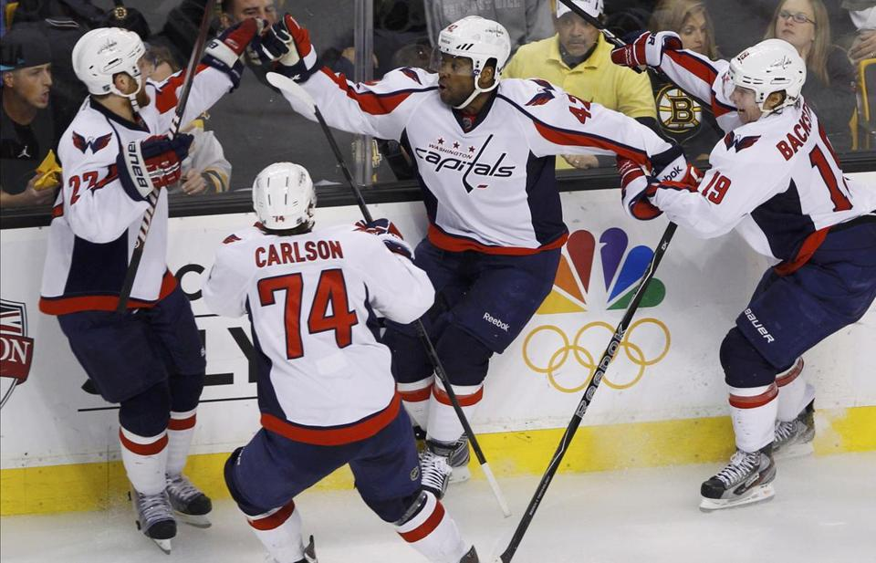 The celebration converged on Joel Ward, center, after his game-winning goal.