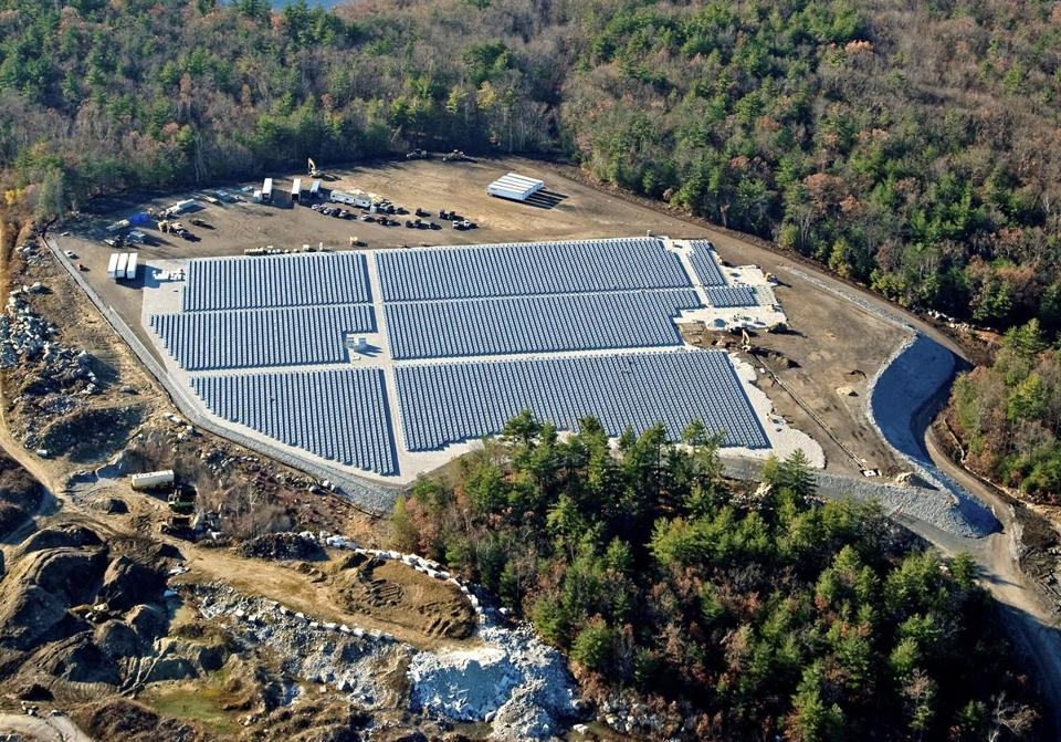 The Westford Solar Park is still under construction on land that once was part of an adjacent granite quarry.